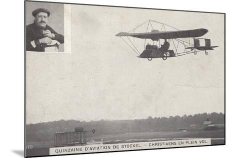Belgian Aviator Josef Christiaens Flying at the Stockel Aviation Fortnight, Brussels, Belgium, 1910--Mounted Photographic Print