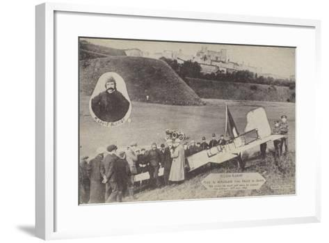 Louis Bleriot with His Aircraft at Dover after Flying across the English Channel, 15 July 1909--Framed Art Print