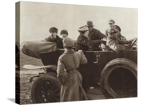 Lenin, N K Krupskaya and M I Ulyanova in a Car in the Khodynka Field, Moscow, 1 May 1918--Stretched Canvas Print