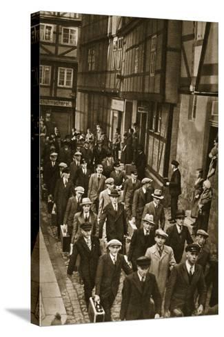 First World War Veterans and New Recruits are Summoned to the Barracks in Quedlinburg, 1939--Stretched Canvas Print