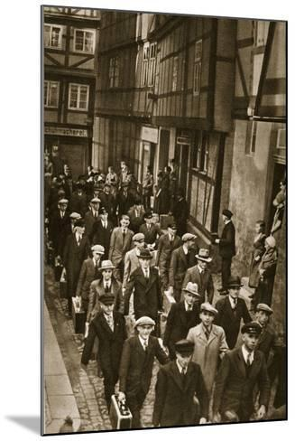 First World War Veterans and New Recruits are Summoned to the Barracks in Quedlinburg, 1939--Mounted Photographic Print