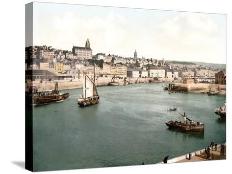 View of the Port of Boulogne Sur Mer with the Cathedral Dome in the Background, Pub. C.1895--Stretched Canvas Print