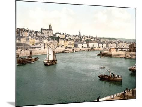 View of the Port of Boulogne Sur Mer with the Cathedral Dome in the Background, Pub. C.1895--Mounted Photographic Print