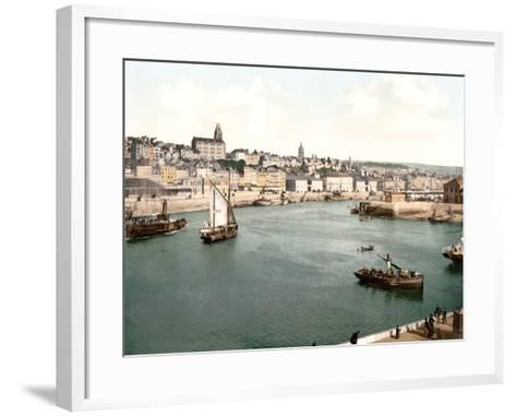 View of the Port of Boulogne Sur Mer with the Cathedral Dome in the Background, Pub. C.1895--Framed Art Print