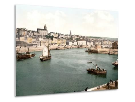 View of the Port of Boulogne Sur Mer with the Cathedral Dome in the Background, Pub. C.1895--Metal Print