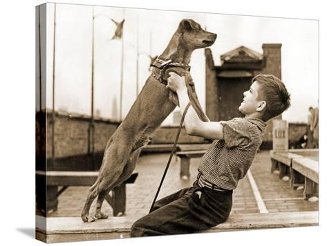 """A Boy and His Dog Brownie, Winner of """"The Biggest Tramp""""Competition, New York 1938--Stretched Canvas Print"""