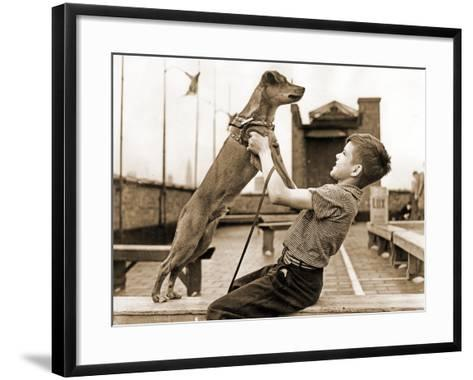 """A Boy and His Dog Brownie, Winner of """"The Biggest Tramp""""Competition, New York 1938--Framed Art Print"""