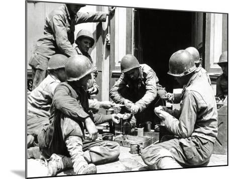 Eight U.S. Soldiers are Preparing Lunch at the Entrance of a House, Normandy, France, June 1944--Mounted Photographic Print