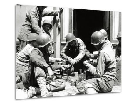 Eight U.S. Soldiers are Preparing Lunch at the Entrance of a House, Normandy, France, June 1944--Metal Print