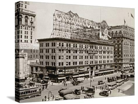 The West Side of 7th Ave., with the Intersections of 43rd and 44th Streets, New York City, 1925--Stretched Canvas Print