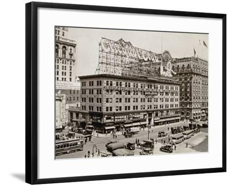 The West Side of 7th Ave., with the Intersections of 43rd and 44th Streets, New York City, 1925--Framed Art Print