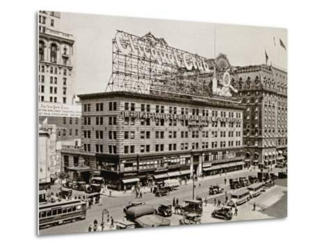 The West Side of 7th Ave., with the Intersections of 43rd and 44th Streets, New York City, 1925--Metal Print