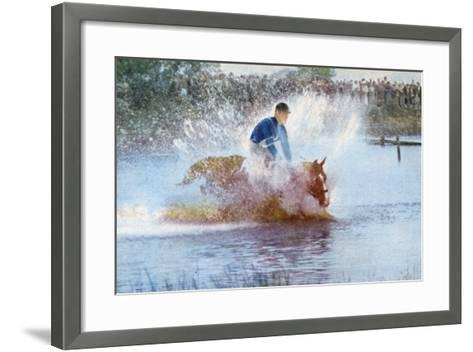 Adriano Facchini and His Horse Participating in the Pentathlon at the 1956 Melbourne Olympics--Framed Art Print