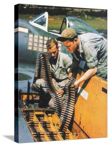 Soldiers Loading Ammunition and Weapons into a Republic P-47 Thunderbolt, Southern England, 1944--Stretched Canvas Print