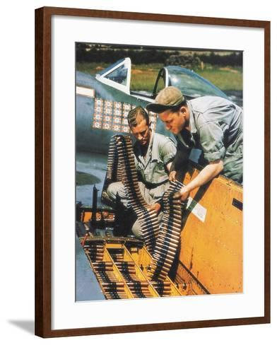 Soldiers Loading Ammunition and Weapons into a Republic P-47 Thunderbolt, Southern England, 1944--Framed Art Print