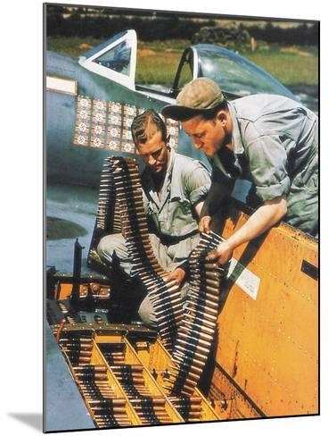 Soldiers Loading Ammunition and Weapons into a Republic P-47 Thunderbolt, Southern England, 1944--Mounted Photographic Print