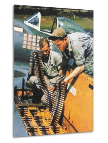 Soldiers Loading Ammunition and Weapons into a Republic P-47 Thunderbolt, Southern England, 1944--Metal Print
