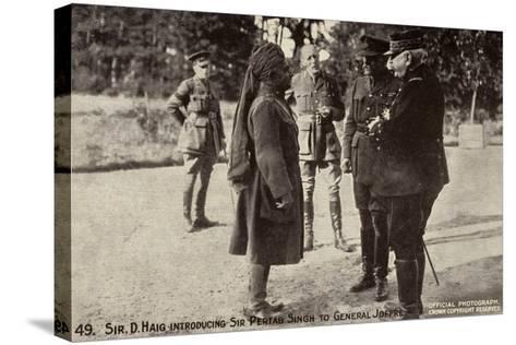 Sir Douglas Haig Introducing Sir Pertab Singh to General Joffre, World War I--Stretched Canvas Print