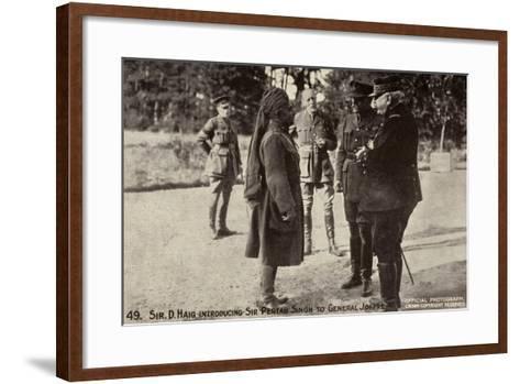 Sir Douglas Haig Introducing Sir Pertab Singh to General Joffre, World War I--Framed Art Print