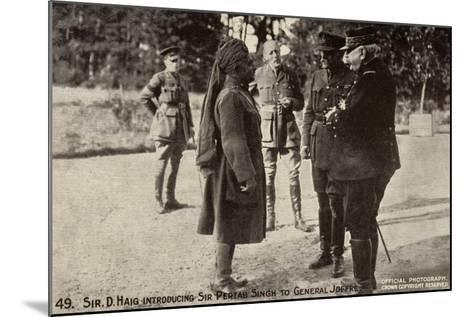 Sir Douglas Haig Introducing Sir Pertab Singh to General Joffre, World War I--Mounted Photographic Print