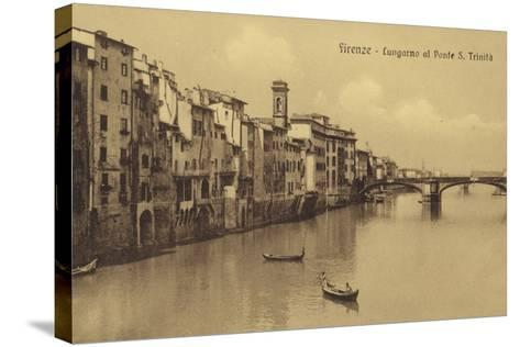 Postcard Depicting Buildings Along the Embankment and Ponte Santa Trinita Crossing the River Arno--Stretched Canvas Print