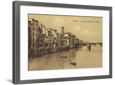 Postcard Depicting Buildings Along the Embankment and Ponte Santa Trinita Crossing the River Arno--Framed Art Print