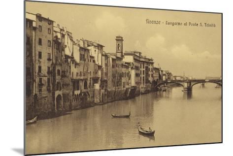 Postcard Depicting Buildings Along the Embankment and Ponte Santa Trinita Crossing the River Arno--Mounted Photographic Print