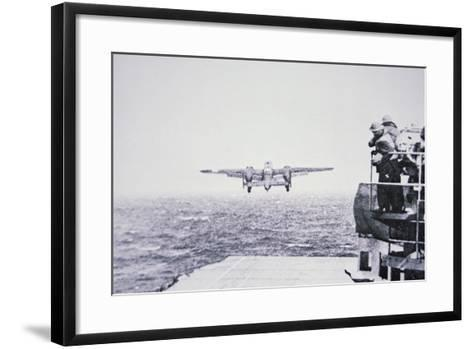 The Doolittle Raid on Tokyo 18th April 1942: One of 16 B-25 Bombers Leaves the Deck of USS Hornet-American Photographer-Framed Art Print