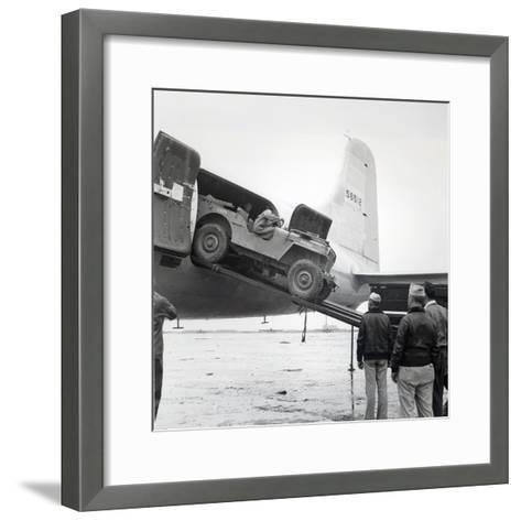 Unloading a Jeep from Douglas 'Skymaster' at Shanghai Airport, China, During the Second World War--Framed Art Print