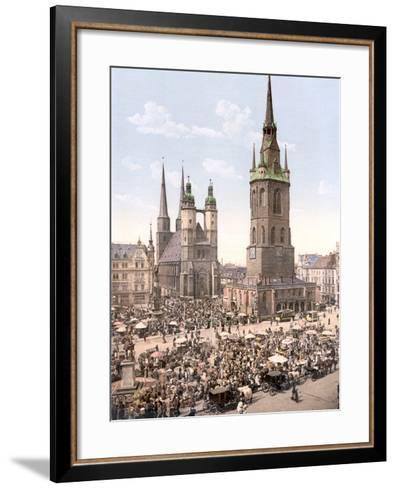 Market Day in Halle with the Red Tower in the Background, Germany, Pub. C.1895--Framed Art Print