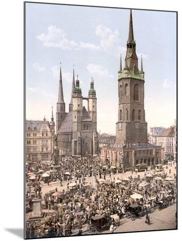 Market Day in Halle with the Red Tower in the Background, Germany, Pub. C.1895--Mounted Photographic Print