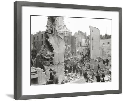 People Searching the Ruins after a Bombing or Impact of V1 or V2, United Kingdom, 1944--Framed Art Print