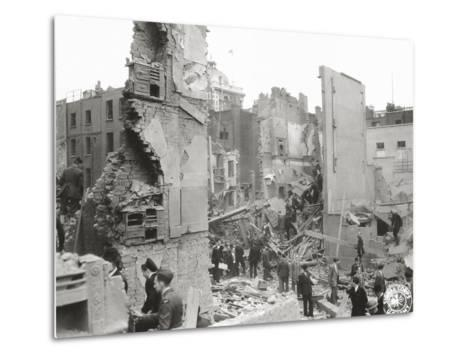 People Searching the Ruins after a Bombing or Impact of V1 or V2, United Kingdom, 1944--Metal Print
