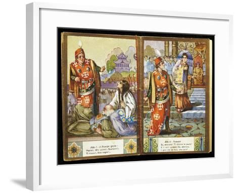 Small Calendar Illustrating Scenes from Turandot, Opera by Giacomo Puccini--Framed Art Print