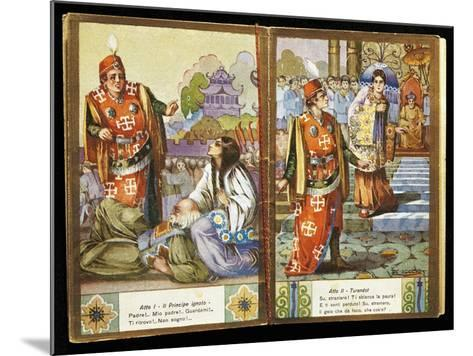 Small Calendar Illustrating Scenes from Turandot, Opera by Giacomo Puccini--Mounted Giclee Print