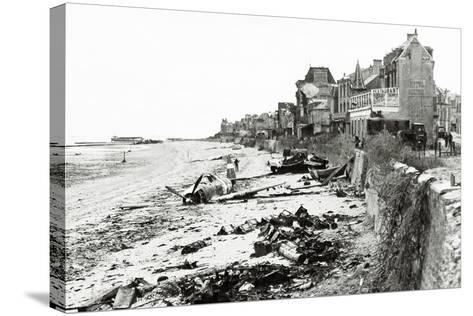 A Republic P-47 Has Crashed on the Beach, Which Is Littered with Scrap, Normandy, France, June 1944--Stretched Canvas Print