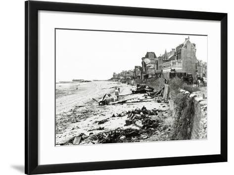 A Republic P-47 Has Crashed on the Beach, Which Is Littered with Scrap, Normandy, France, June 1944--Framed Art Print