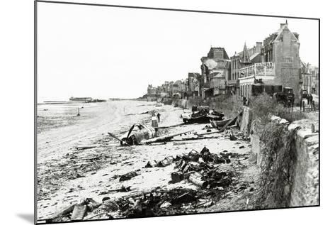 A Republic P-47 Has Crashed on the Beach, Which Is Littered with Scrap, Normandy, France, June 1944--Mounted Photographic Print
