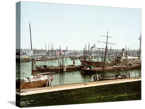 A Selection of River Barges and Steamboats on the Rhine at Rotterdam, Pub. C.1895--Stretched Canvas Print