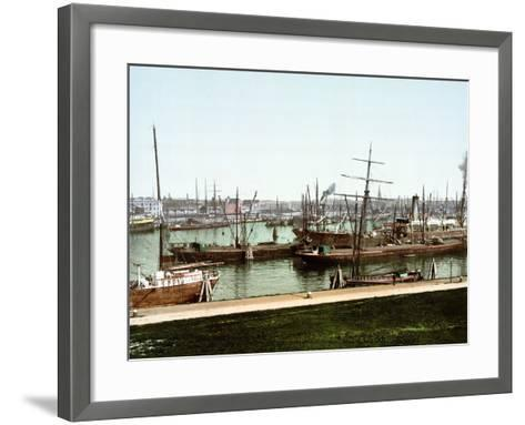 A Selection of River Barges and Steamboats on the Rhine at Rotterdam, Pub. C.1895--Framed Art Print