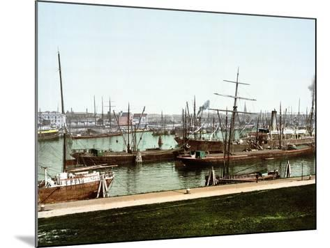 A Selection of River Barges and Steamboats on the Rhine at Rotterdam, Pub. C.1895--Mounted Photographic Print