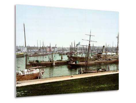 A Selection of River Barges and Steamboats on the Rhine at Rotterdam, Pub. C.1895--Metal Print