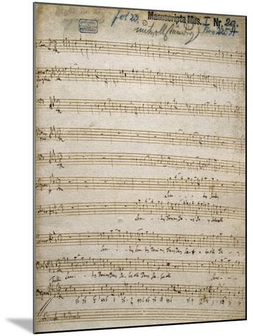 Title Page of Handwritten Score for Great Organ Mass by Franz Joseph Haydn--Mounted Giclee Print