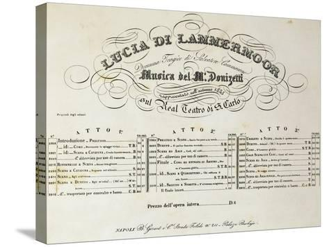 Title Page of Sheet Music for Lucia Lammermoor, Opera by Gaetano Donizetti--Stretched Canvas Print