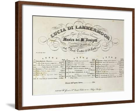Title Page of Sheet Music for Lucia Lammermoor, Opera by Gaetano Donizetti--Framed Art Print