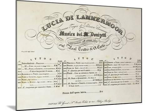 Title Page of Sheet Music for Lucia Lammermoor, Opera by Gaetano Donizetti--Mounted Giclee Print
