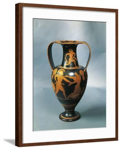 Amphora Depicting Menelaus and Helen and a Nereid on the Neck by Pamphaios, Potter--Framed Art Print