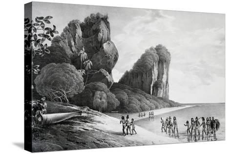 Tikopia Beach View, Engraving from Painting by Louis-Auguste De Sainson, Tikopia--Stretched Canvas Print