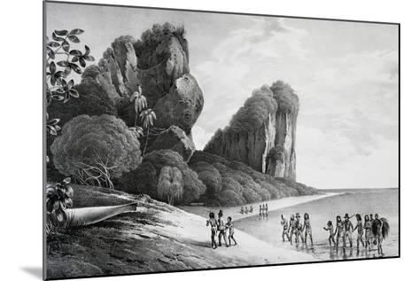 Tikopia Beach View, Engraving from Painting by Louis-Auguste De Sainson, Tikopia--Mounted Giclee Print
