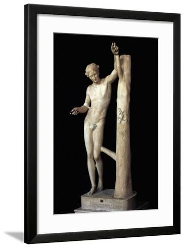 Apollo Sauroktonos or Sauroctono, Roman Copy in Marble of the Statue by Praxiteles--Framed Art Print